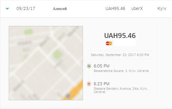 Recibo de Uber del cine a la calle Khreshchatyk